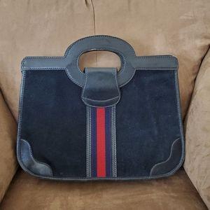 Authentic Vintage Gucci Blue Suede Handbag Purse